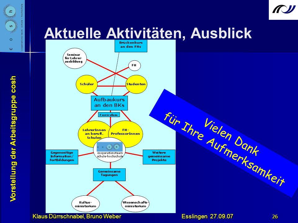 Vorstellung der Arbeitsgruppe cosh Klaus Dürrschnabel, Bruno Weber Esslingen 27.09.07 26 Das bestehende Netzwerk stärken und weiter ausbauen! Aktuelle