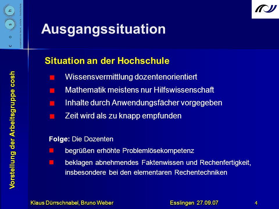 Vorstellung der Arbeitsgruppe cosh Klaus Dürrschnabel, Bruno Weber Esslingen 27.09.07 4 Ausgangssituation Wissensvermittlung dozentenorientiert Mathem