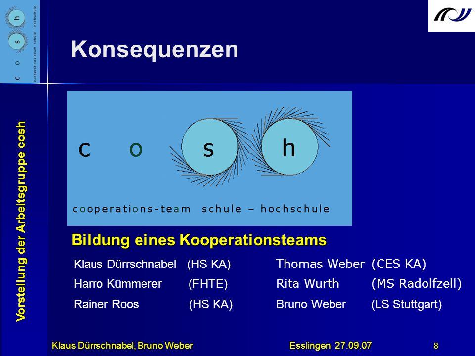 Vorstellung der Arbeitsgruppe cosh Klaus Dürrschnabel, Bruno Weber Esslingen 27.09.07 8 Bildung eines Kooperationsteams Gegenseitige Einladung zu Tagu