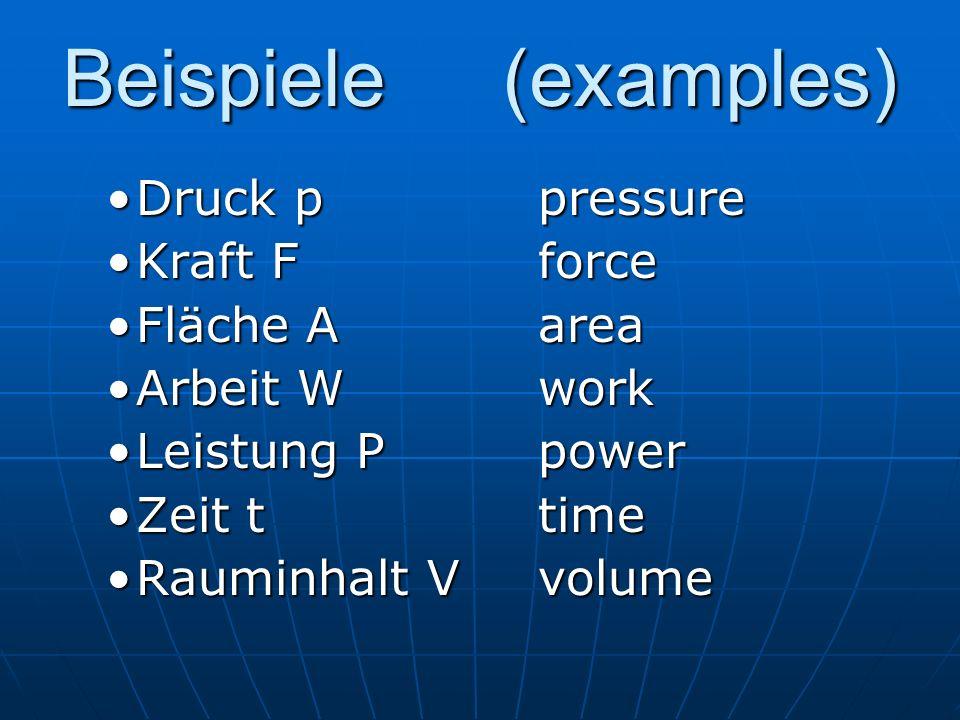 Beispiele(examples) Druck ppressureDruck ppressure Kraft FforceKraft Fforce Fläche AareaFläche Aarea Arbeit WworkArbeit Wwork Leistung PpowerLeistung