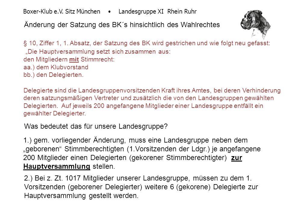 Boxer-Klub e.V. Sitz München Landesgruppe XI Rhein Ruhr Änderung der Satzung des BK´s hinsichtlich des Wahlrechtes § 10, Ziffer 1, 1. Absatz, der Satz