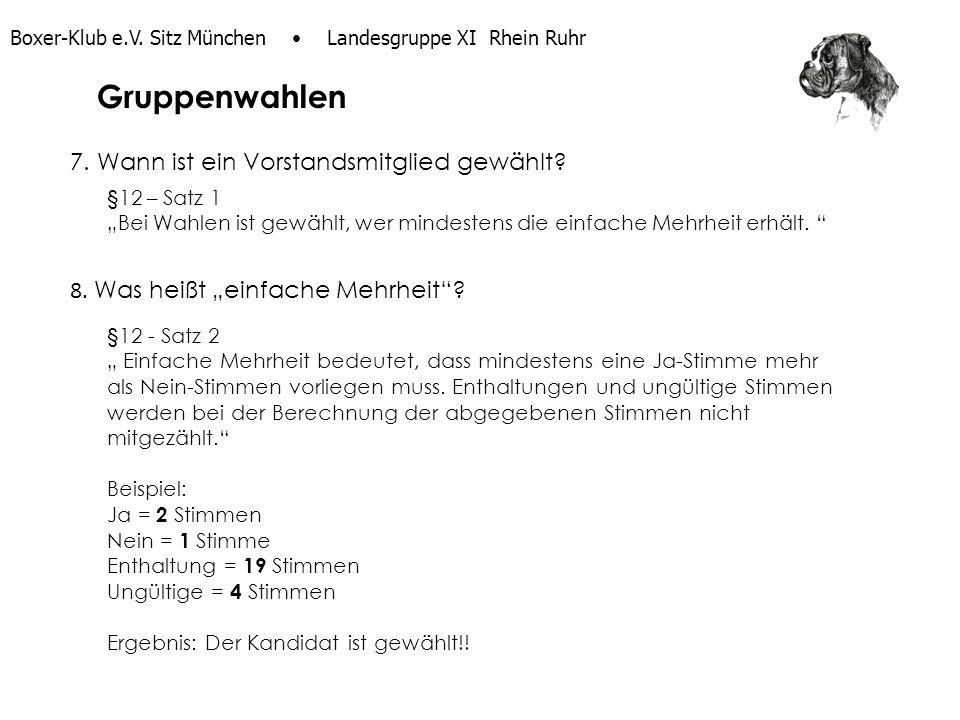 Boxer-Klub e.V. Sitz München Landesgruppe XI Rhein Ruhr 7. Wann ist ein Vorstandsmitglied gewählt? §12 – Satz 1 Bei Wahlen ist gewählt, wer mindestens
