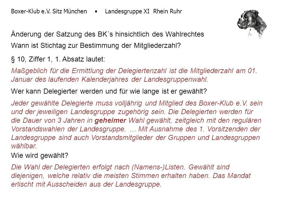 Boxer-Klub e.V. Sitz München Landesgruppe XI Rhein Ruhr Änderung der Satzung des BK´s hinsichtlich des Wahlrechtes Wann ist Stichtag zur Bestimmung de
