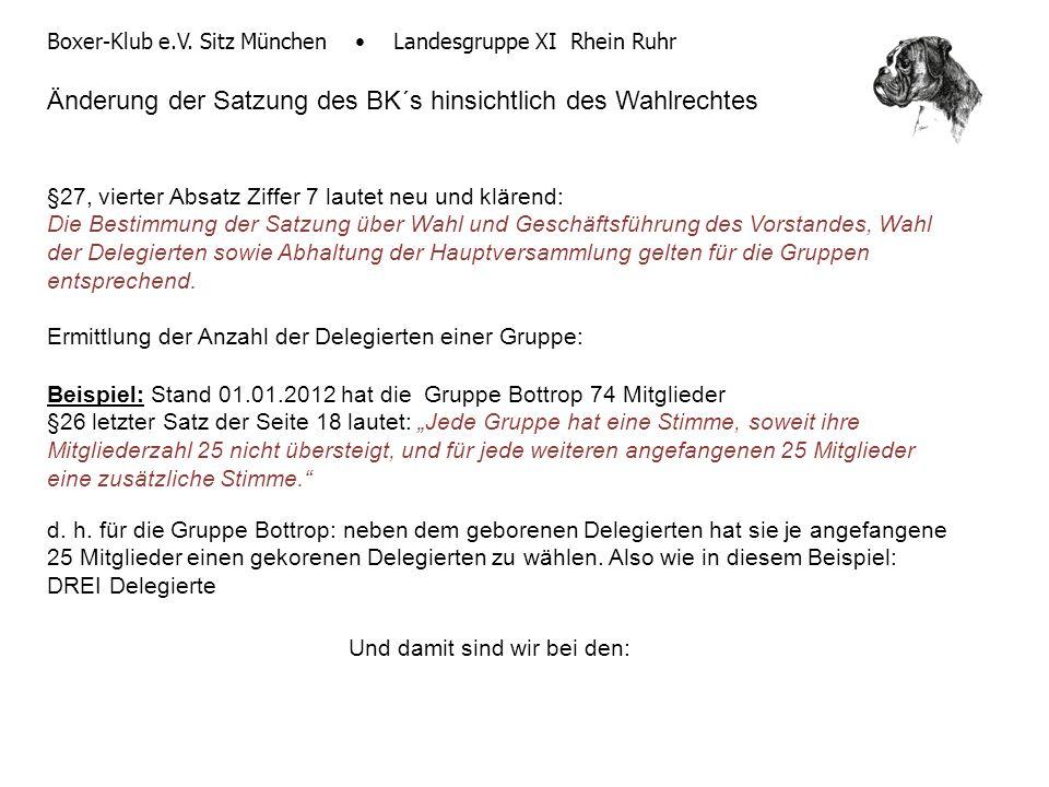 Boxer-Klub e.V. Sitz München Landesgruppe XI Rhein Ruhr Änderung der Satzung des BK´s hinsichtlich des Wahlrechtes §27, vierter Absatz Ziffer 7 lautet