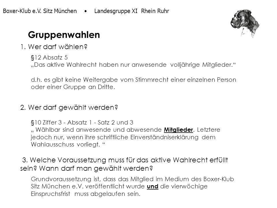 Boxer-Klub e.V. Sitz München Landesgruppe XI Rhein Ruhr 1. Wer darf wählen? §12 Absatz 5 Das aktive Wahlrecht haben nur anwesende volljährige Mitglied