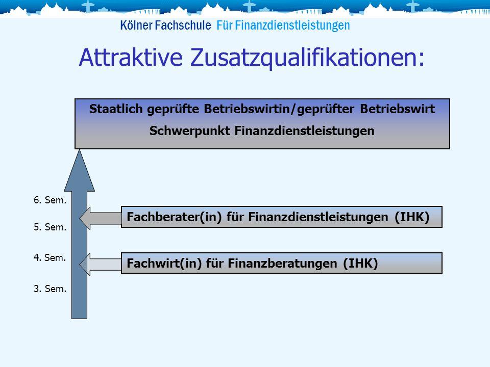 Kölner Fachschule Für Finanzdienstleistungen Attraktive Zusatzqualifikationen: Fachberater(in) für Finanzdienstleistungen (IHK) Fachwirt(in) für Finan