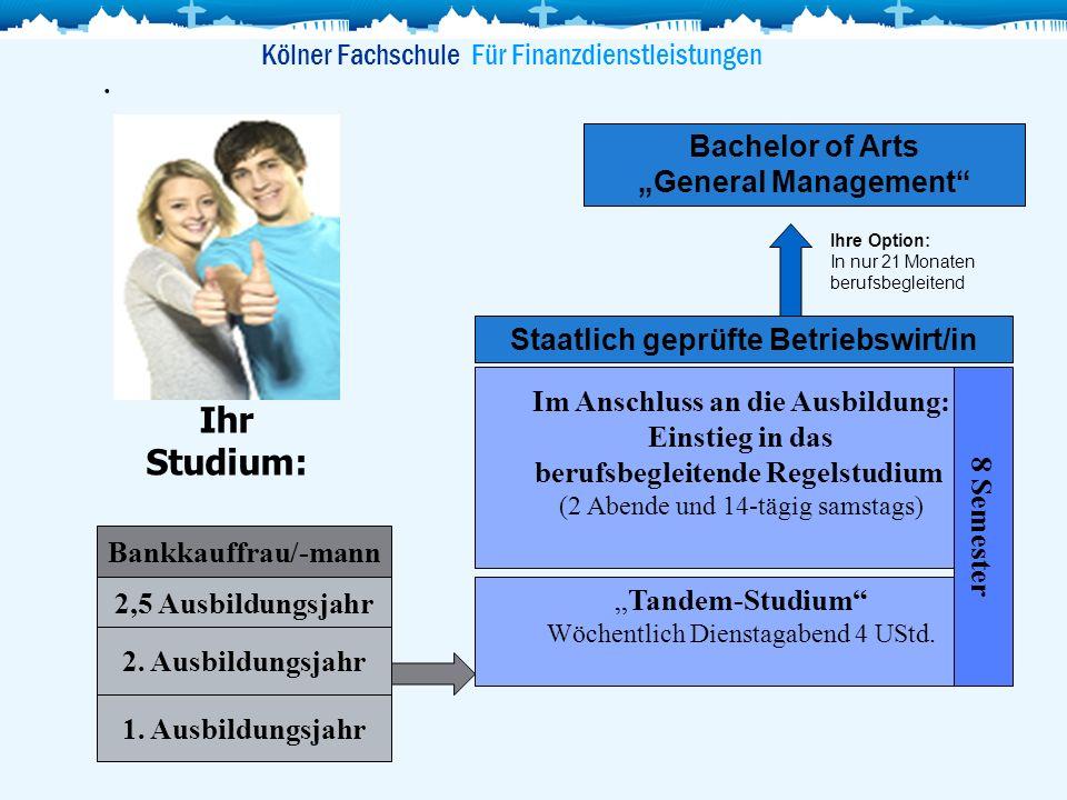 Ausbildung Banken2,5 Jahre Blick auf die Ausbildungszeit: Kölner Fachschule Für Finanzdienstleistungen 1.
