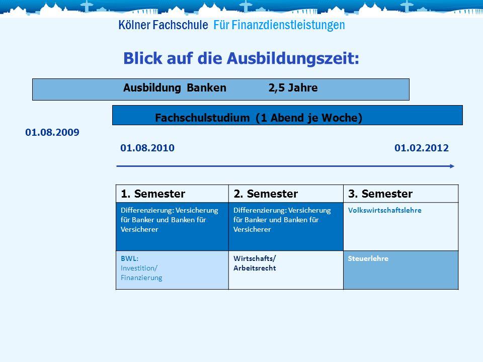 Ausbildung Banken2,5 Jahre Blick auf die Ausbildungszeit: Kölner Fachschule Für Finanzdienstleistungen 1. Semester2. Semester3. Semester Differenzieru