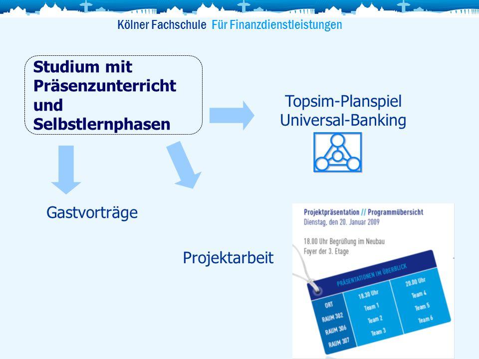 Kölner Fachschule Für Finanzdienstleistungen Studium mit Präsenzunterricht und Selbstlernphasen Topsim-Planspiel Universal-Banking Gastvorträge Projek