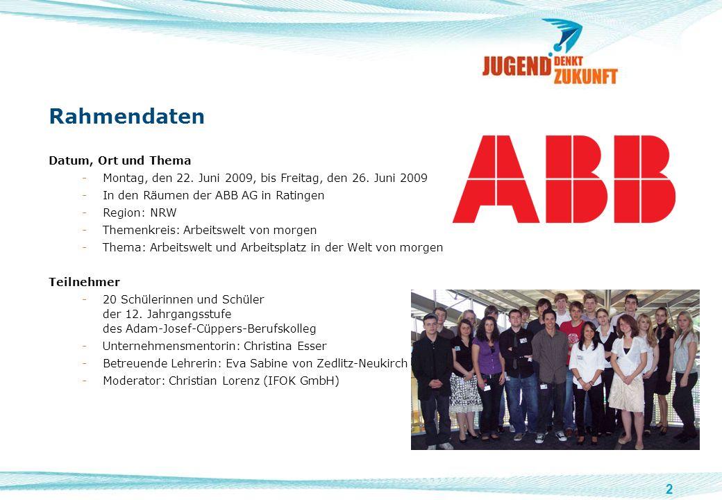 2 Rahmendaten Datum, Ort und Thema -Montag, den 22. Juni 2009, bis Freitag, den 26. Juni 2009 -In den Räumen der ABB AG in Ratingen -Region: NRW -Them