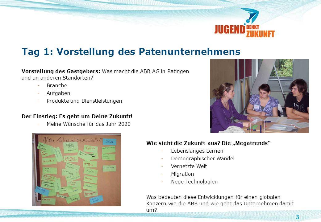 3 Tag 1: Vorstellung des Patenunternehmens Vorstellung des Gastgebers: Was macht die ABB AG in Ratingen und an anderen Standorten? -Branche -Aufgaben