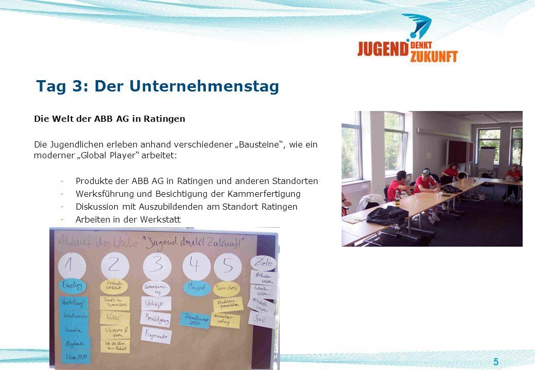 5 Tag 3: Der Unternehmenstag Die Welt der ABB AG in Ratingen Die Jugendlichen erleben anhand verschiedener Bausteine, wie ein moderner Global Player a