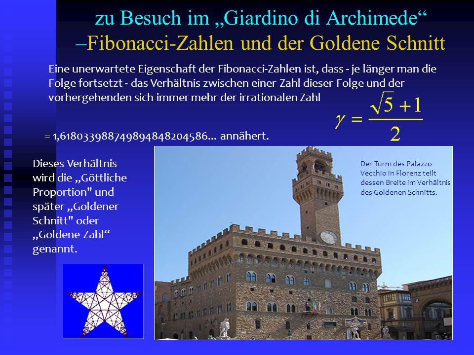 Eine unerwartete Eigenschaft der Fibonacci-Zahlen ist, dass - je länger man die Folge fortsetzt - das Verhältnis zwischen einer Zahl dieser Folge und
