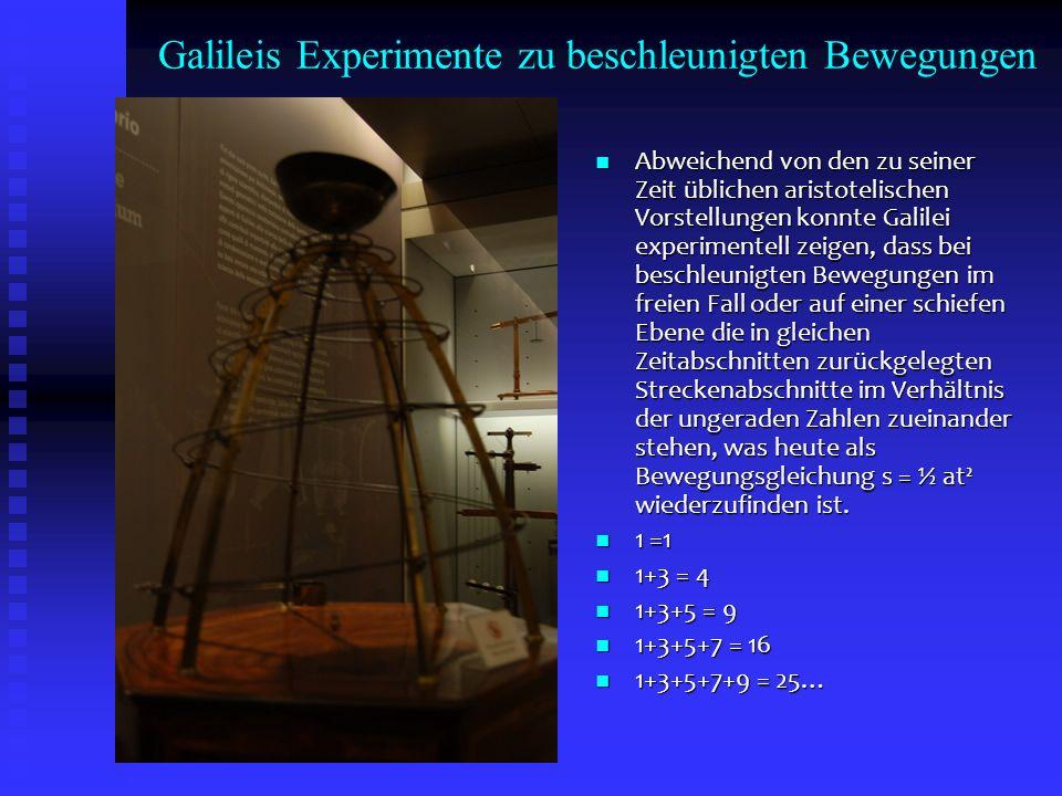Galileis Experimente zu beschleunigten Bewegungen Abweichend von den zu seiner Zeit üblichen aristotelischen Vorstellungen konnte Galilei experimentel