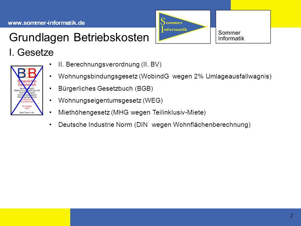 2 Grundlagen Betriebskosten II.Berechnungsverordnung (II.