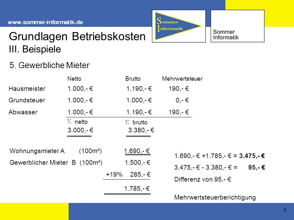 9 Hausmeister1.000,- 1.190,- 190,- Grundsteuer1.000,- 1.000,- 0,- Abwasser1.000,- 1.190,- 190,- Netto Brutto Mehrwertsteuer brutto 3.000,- 3.380,- Wohnungsmieter A (100m²) 1.690,- Gewerblicher Mieter B (100m²)1.500,- +19% 285,- 1.690,- +1.785,- = 3.475,- 3.475,- - 3.380,- = 95,- Differenz von 95,- Mehrwertsteuerberichtigung netto III.