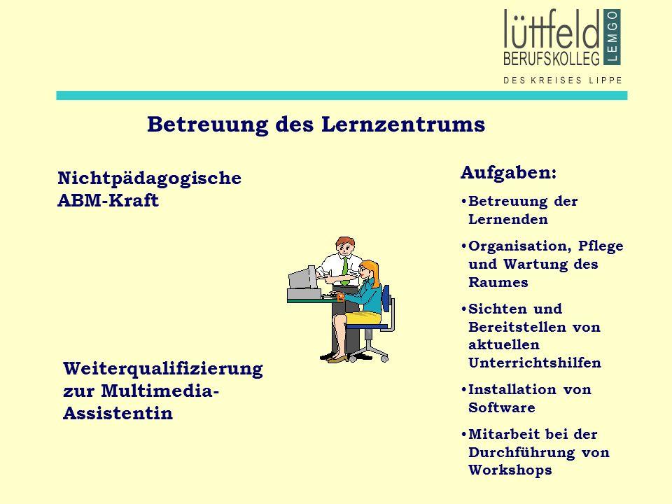 Betreuung des Lernzentrums Nichtpädagogische ABM-Kraft Weiterqualifizierung zur Multimedia- Assistentin Aufgaben: Betreuung der Lernenden Organisation