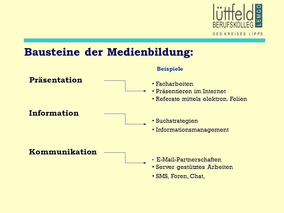 Bausteine der Medienbildung: Beispiele Präsentation Facharbeiten Präsentieren im Internet Referate mittels elektron. Folien Information Suchstrategien