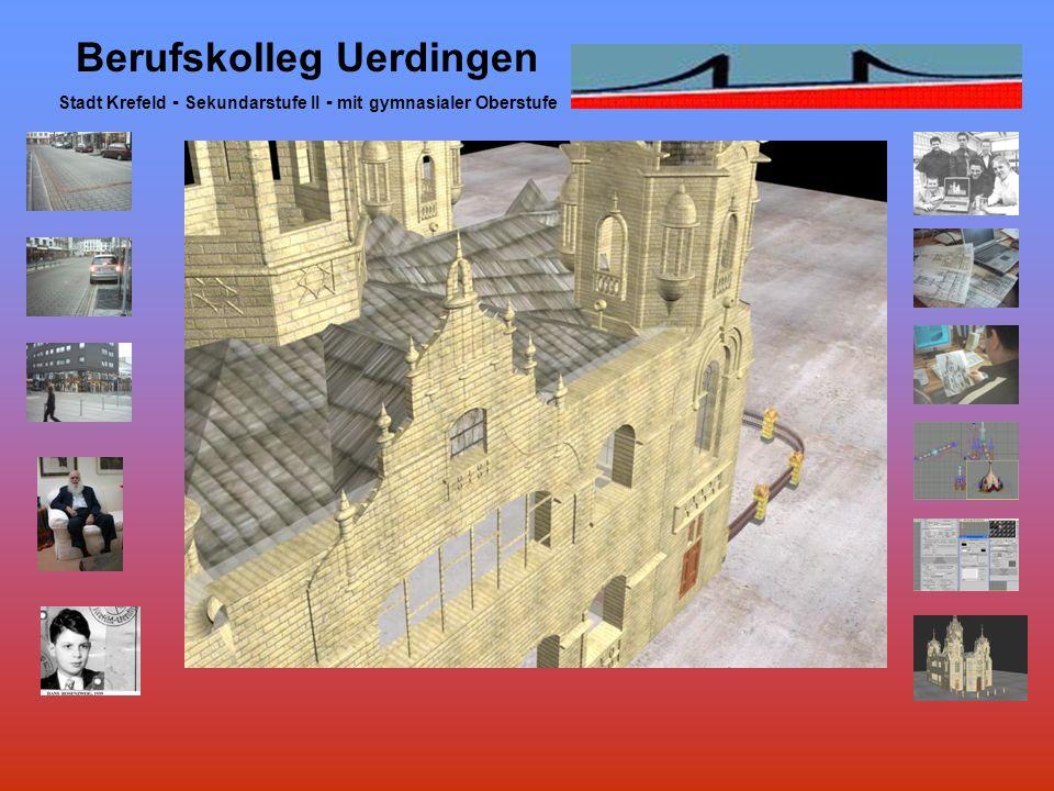 Der Grundriss der Synagoge – markiert durch rote Pflastersteine Fahrbahnmarkierung / links Tiefgaragenkante