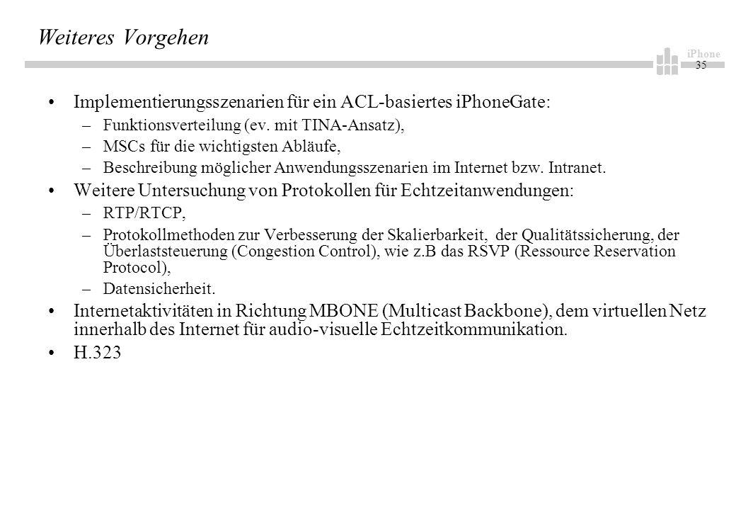 iPhone 35 Weiteres Vorgehen Implementierungsszenarien für ein ACL-basiertes iPhoneGate: –Funktionsverteilung (ev.