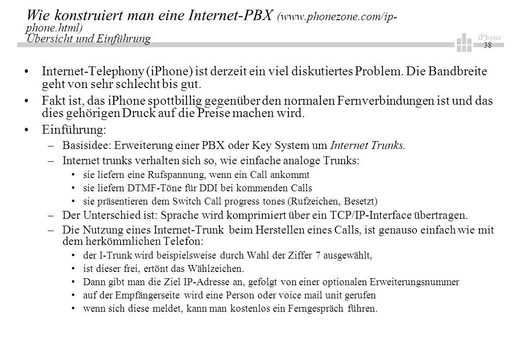 iPhone 38 Wie konstruiert man eine Internet-PBX (www.phonezone.com/ip- phone.html) Übersicht und Einführung Internet-Telephony (iPhone) ist derzeit ein viel diskutiertes Problem.