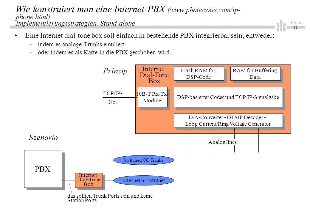 iPhone 41 Wie konstruiert man eine Internet-PBX (www.phonezone.com/ip- phone.html) Implementierungsstrategien: Stand-alone Eine Internet dial-tone box soll einfach in bestehende PBX integrierbar sein, entweder: –indem es analoge Trunks emuliert –oder indem es als Karte in die PBX geschoben wird.
