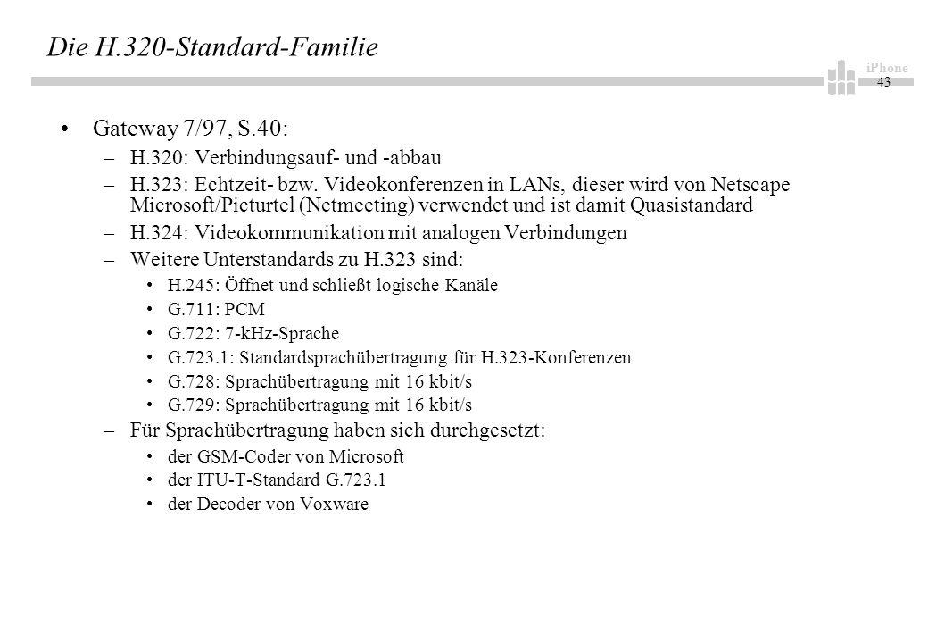 iPhone 43 Die H.320-Standard-Familie Gateway 7/97, S.40: –H.320: Verbindungsauf- und -abbau –H.323: Echtzeit- bzw.