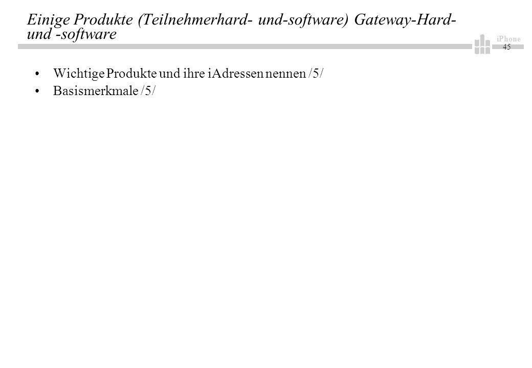 iPhone 45 Einige Produkte (Teilnehmerhard- und-software) Gateway-Hard- und -software Wichtige Produkte und ihre iAdressen nennen /5/ Basismerkmale /5/