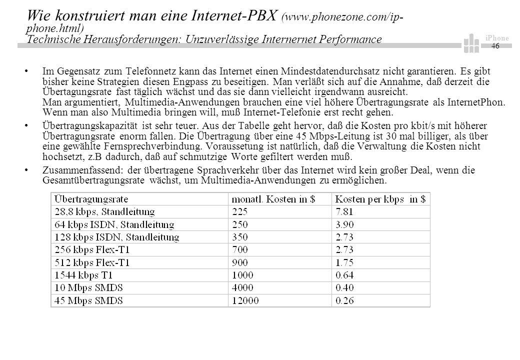 iPhone 46 Wie konstruiert man eine Internet-PBX (www.phonezone.com/ip- phone.html) Technische Herausforderungen: Unzuverlässige Internernet Performance Im Gegensatz zum Telefonnetz kann das Internet einen Mindestdatendurchsatz nicht garantieren.
