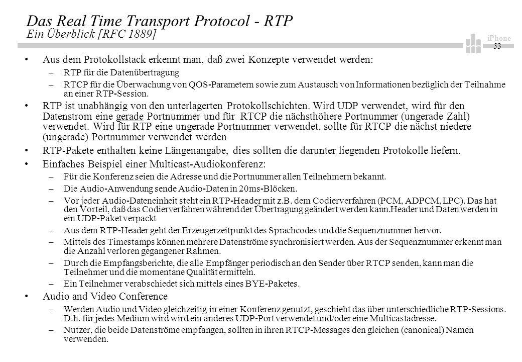 iPhone 53 Das Real Time Transport Protocol - RTP Ein Überblick [RFC 1889] Aus dem Protokollstack erkennt man, daß zwei Konzepte verwendet werden: –RTP für die Datenübertragung –RTCP für die Überwachung von QOS-Parametern sowie zum Austausch von Informationen bezüglich der Teilnahme an einer RTP-Session.