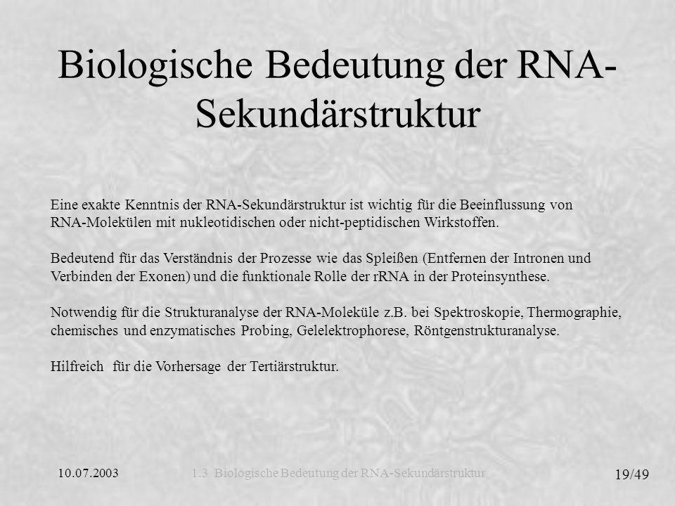 10.07.2003 20/49 Visualisierung der RNA-Sekundärstruktur Nikolaus Jeremic & Birger Krug Visualisierung der RNA-Sekundärstruktur Nikolaus Jeremic & Birger Krug 2.1 Vorhersage der RNA-Sekundärstruktur 2.2 Repräsentation der RNA-Sekundärstruktur 2.3 Darstellung der H-Typ Pseudoknoten 2.
