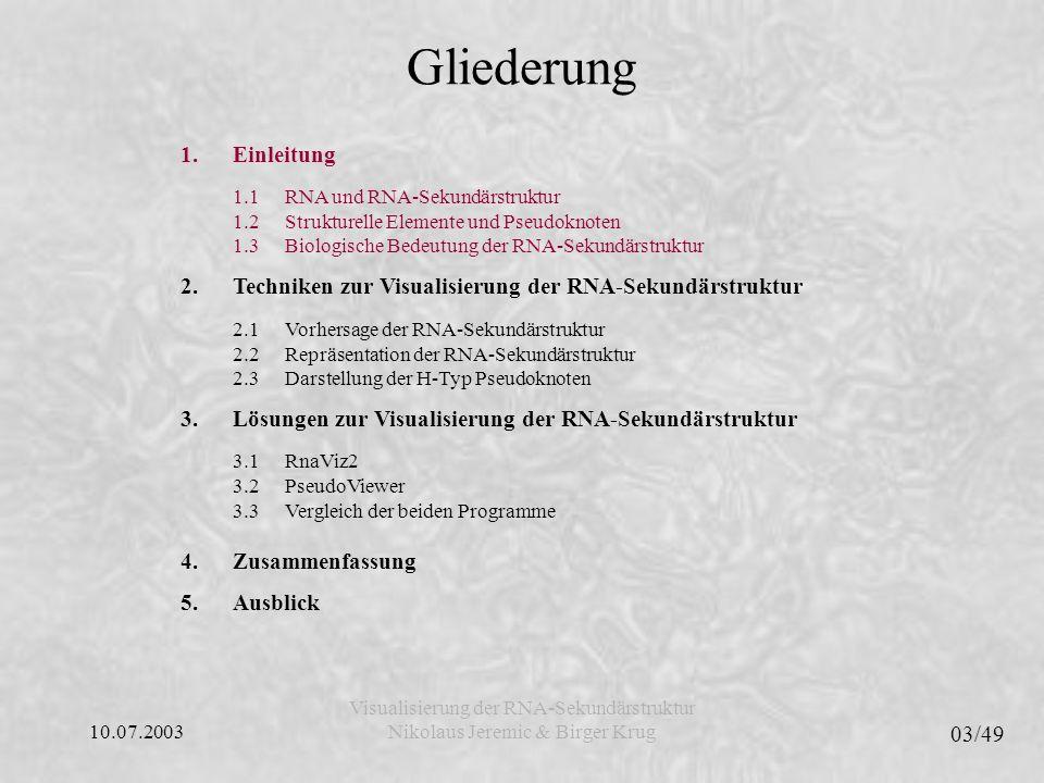 10.07.2003 04/49 Visualisierung der RNA-Sekundärstruktur Nikolaus Jeremic & Birger Krug Gliederung 1.Einleitung 1.1RNA und RNA-Sekundärstruktur 1.2Strukturelle Elemente und Pseudoknoten 1.3Biologische Bedeutung der RNA-Sekundärstruktur 2.Techniken zur Visualisierung der RNA-Sekundärstruktur 2.1Vorhersage der RNA-Sekundärstruktur 2.2Repräsentation der RNA-Sekundärstruktur 2.3Darstellung der H-Typ Pseudoknoten 3.Lösungen zur Visualisierung der RNA-Sekundärstruktur 3.1RnaViz2 3.2PseudoViewer 3.3Vergleich der beiden Programme 4.Zusammenfassung 5.Ausblick