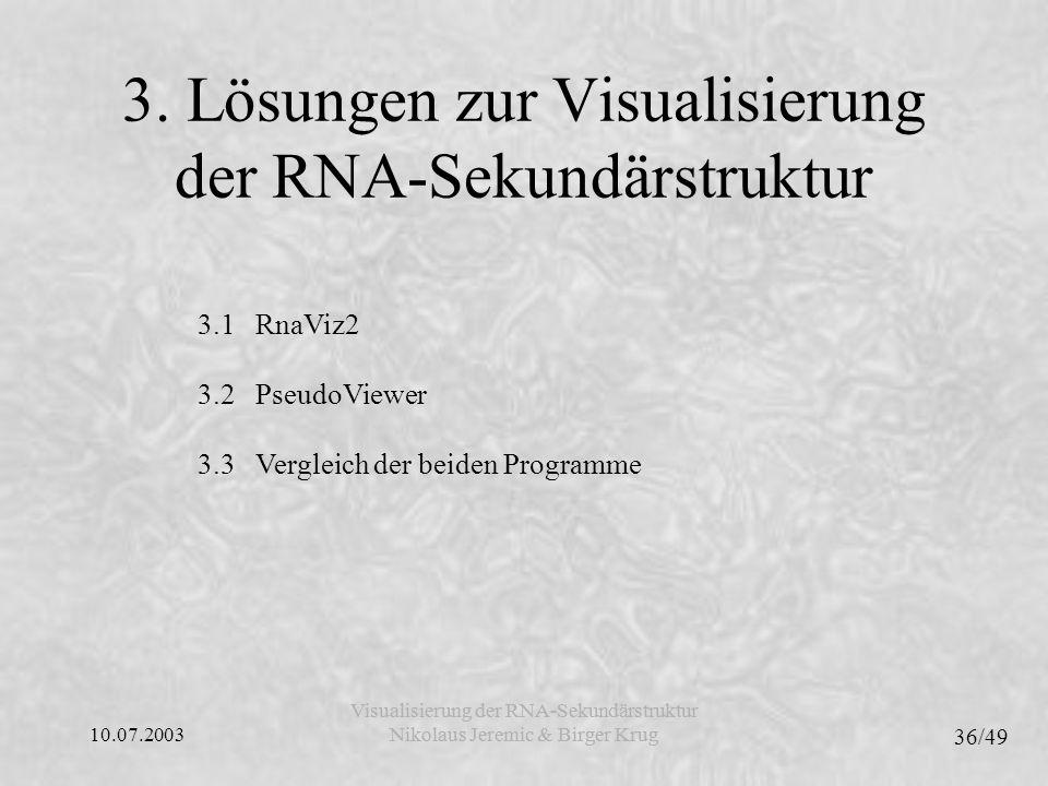 10.07.2003 36/49 Visualisierung der RNA-Sekundärstruktur Nikolaus Jeremic & Birger Krug Visualisierung der RNA-Sekundärstruktur Nikolaus Jeremic & Birger Krug 3.1 RnaViz2 3.2 PseudoViewer 3.3 Vergleich der beiden Programme 3.