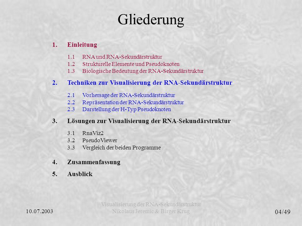 10.07.2003 05/49 Visualisierung der RNA-Sekundärstruktur Nikolaus Jeremic & Birger Krug Gliederung 1.Einleitung 1.1RNA und RNA-Sekundärstruktur 1.2Strukturelle Elemente und Pseudoknoten 1.3Biologische Bedeutung der RNA-Sekundärstruktur 2.Techniken zur Visualisierung der RNA-Sekundärstruktur 2.1Vorhersage der RNA-Sekundärstruktur 2.2Repräsentation der RNA-Sekundärstruktur 2.3Darstellung der H-Typ Pseudoknoten 3.Lösungen zur Visualisierung der RNA-Sekundärstruktur 3.1RnaViz2 3.2PseudoViewer 3.3Vergleich der beiden Programme 4.Zusammenfassung 5.Ausblick