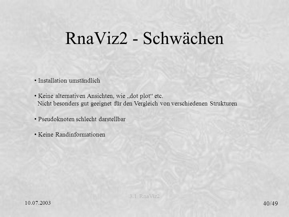 10.07.2003 40/49 3.1 RnaViz2 RnaViz2 - Schwächen Installation umständlich Keine alternativen Ansichten, wie dot plot etc.