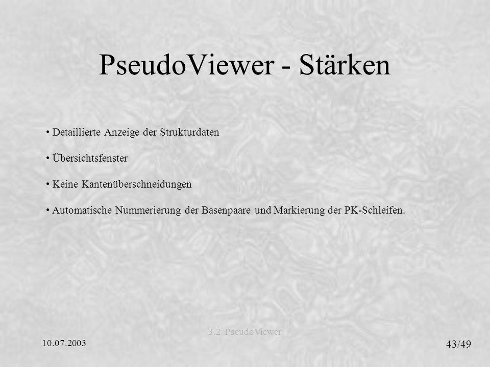 10.07.2003 43/49 3.2 PseudoViewer PseudoViewer - Stärken Detaillierte Anzeige der Strukturdaten Übersichtsfenster Keine Kantenüberschneidungen Automatische Nummerierung der Basenpaare und Markierung der PK-Schleifen.