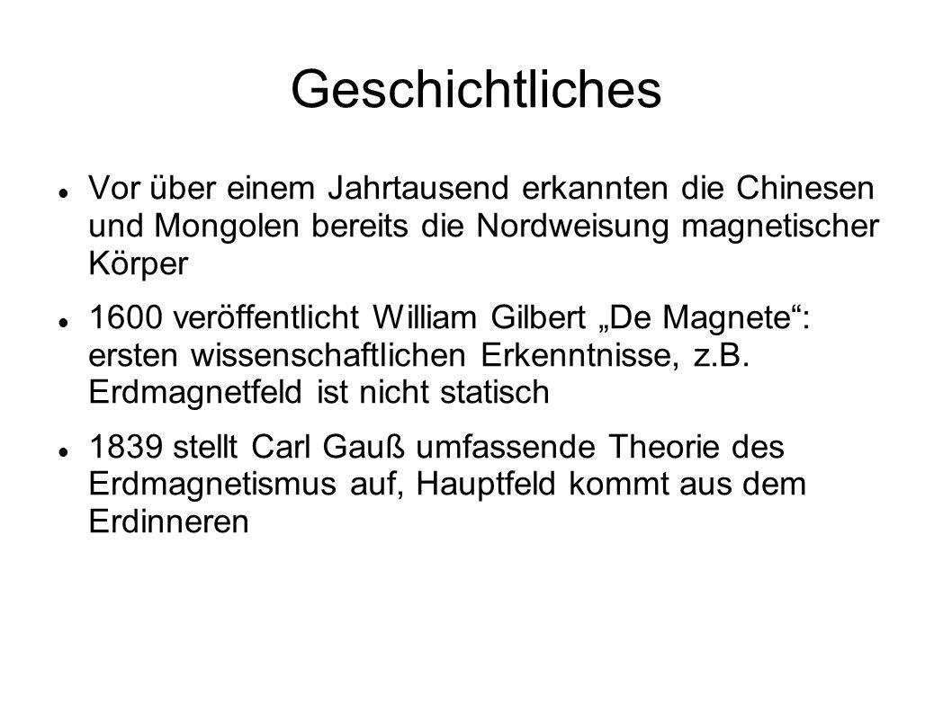 Geschichtliches Vor über einem Jahrtausend erkannten die Chinesen und Mongolen bereits die Nordweisung magnetischer Körper 1600 veröffentlicht William