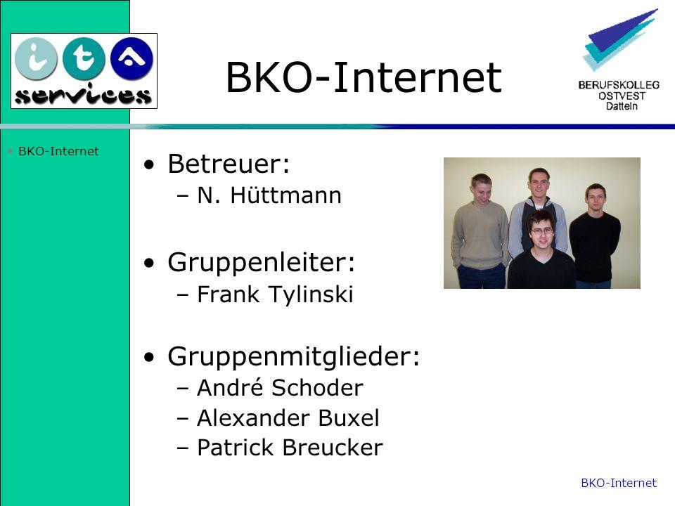 BKO-Internet Betreuer: –N. Hüttmann Gruppenleiter: –Frank Tylinski Gruppenmitglieder: –André Schoder –Alexander Buxel –Patrick Breucker BKO-Internet