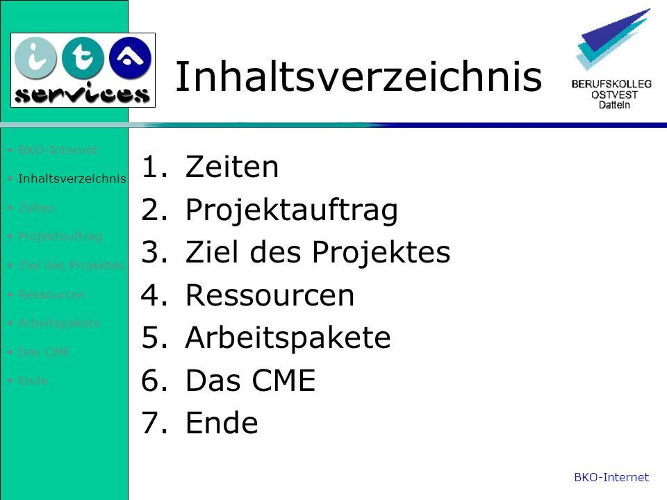 Inhaltsverzeichnis Zeiten Projektauftrag Ziel des Projektes Ressourcen Arbeitspakete Das CME Ende Inhaltsverzeichnis 1.Zeiten 2.Projektauftrag 3.Ziel