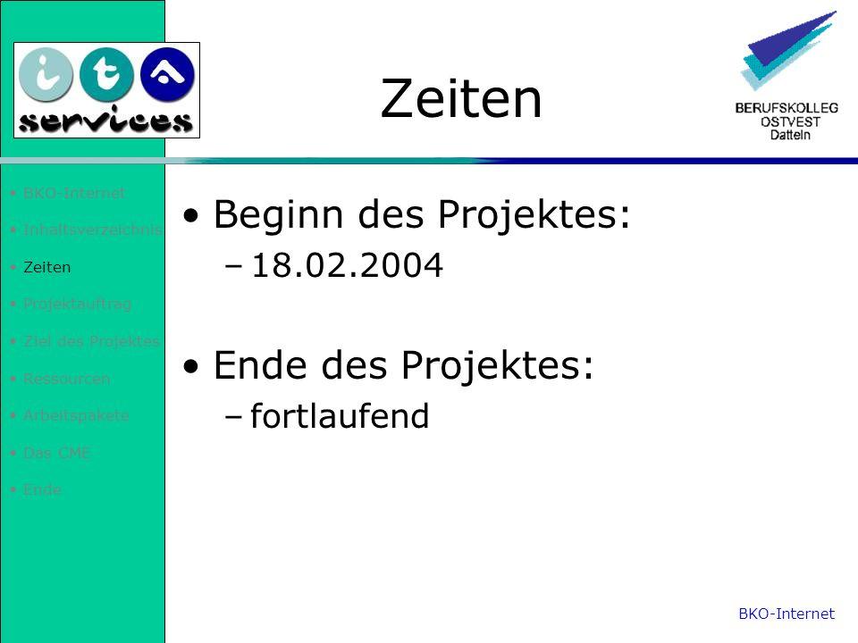 Inhaltsverzeichnis Zeiten Projektauftrag Ziel des Projektes Ressourcen Arbeitspakete Das CME Ende Zeiten Beginn des Projektes: –18.02.2004 Ende des Pr
