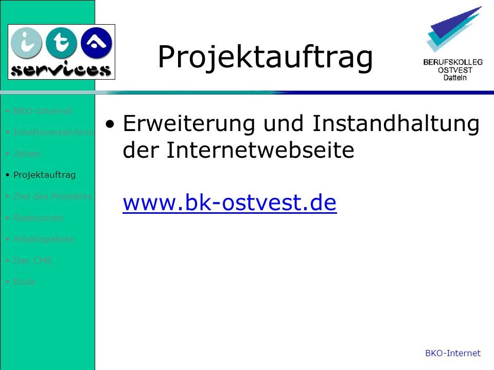 Inhaltsverzeichnis Zeiten Projektauftrag Ziel des Projektes Ressourcen Arbeitspakete Das CME Ende Ziel des Projektes Wartung der Internetpräsenz Deutsch- /Englisch-Übersetzung Programmiersprache ASP (Active Server Pages) aneignen Lehrerinternen Bereich erstellen/modifizieren Dokumentationen und Mappe aktualisieren BKO-Internet