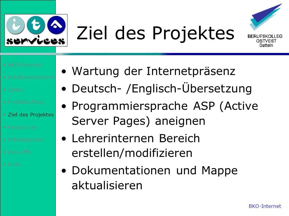 Inhaltsverzeichnis Zeiten Projektauftrag Ziel des Projektes Ressourcen Arbeitspakete Das CME Ende Ressourcen Testdomäne und Webspace Recherchen im Internet über ASP (Active Server Pages) BKO-Internet