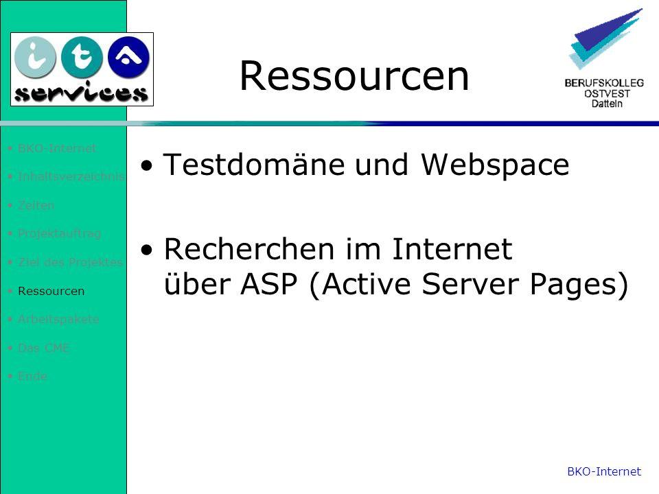 Inhaltsverzeichnis Zeiten Projektauftrag Ziel des Projektes Ressourcen Arbeitspakete Das CME Ende Arbeitspakete Wartung der Internetpräsenz in ASP einarbeiten Deutsch- /Englisch-Version Lehrerinternen Bereich Projektmappe aktualisieren BKO-Internet
