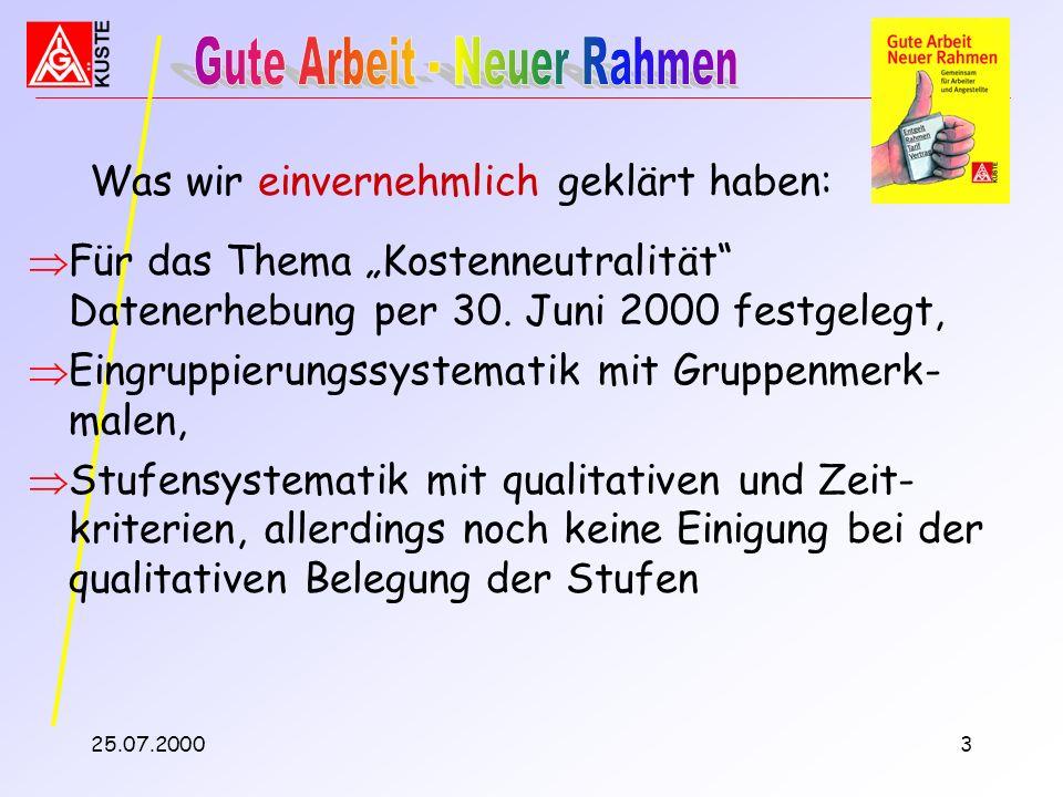 25.07.20002 Auftrag der Technischen Kommission: Verhandlungsvorschlag zum Bereich Entgeltdifferenzierung / Eingruppierung