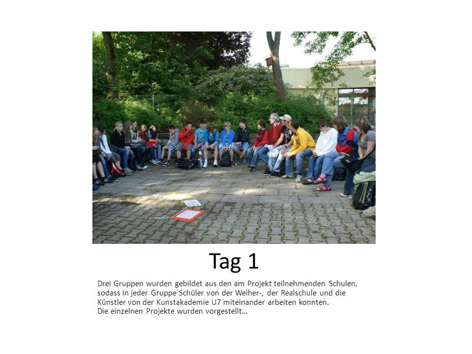 Drei Gruppen wurden gebildet aus den am Projekt teilnehmenden Schulen, sodass in jeder Gruppe Schüler von der Weiher-, der Realschule und die Künstler