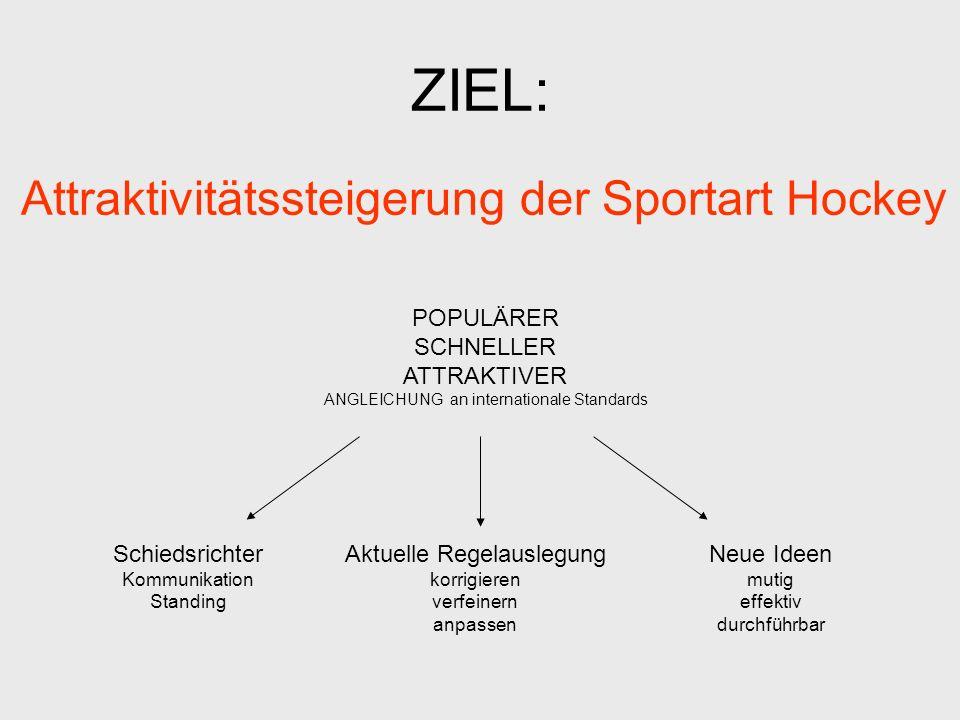 ZIEL: Attraktivitätssteigerung der Sportart Hockey Schiedsrichter Kommunikation Standing Aktuelle Regelauslegung korrigieren verfeinern anpassen Neue Ideen mutig effektiv durchführbar POPULÄRER SCHNELLER ATTRAKTIVER ANGLEICHUNG an internationale Standards