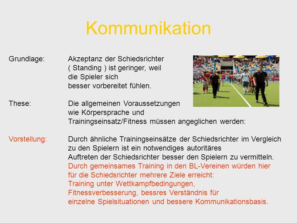 Kommunikation Grundlage:Akzeptanz der Schiedsrichter ( Standing ) ist geringer, weil die Spieler sich besser vorbereitet fühlen.