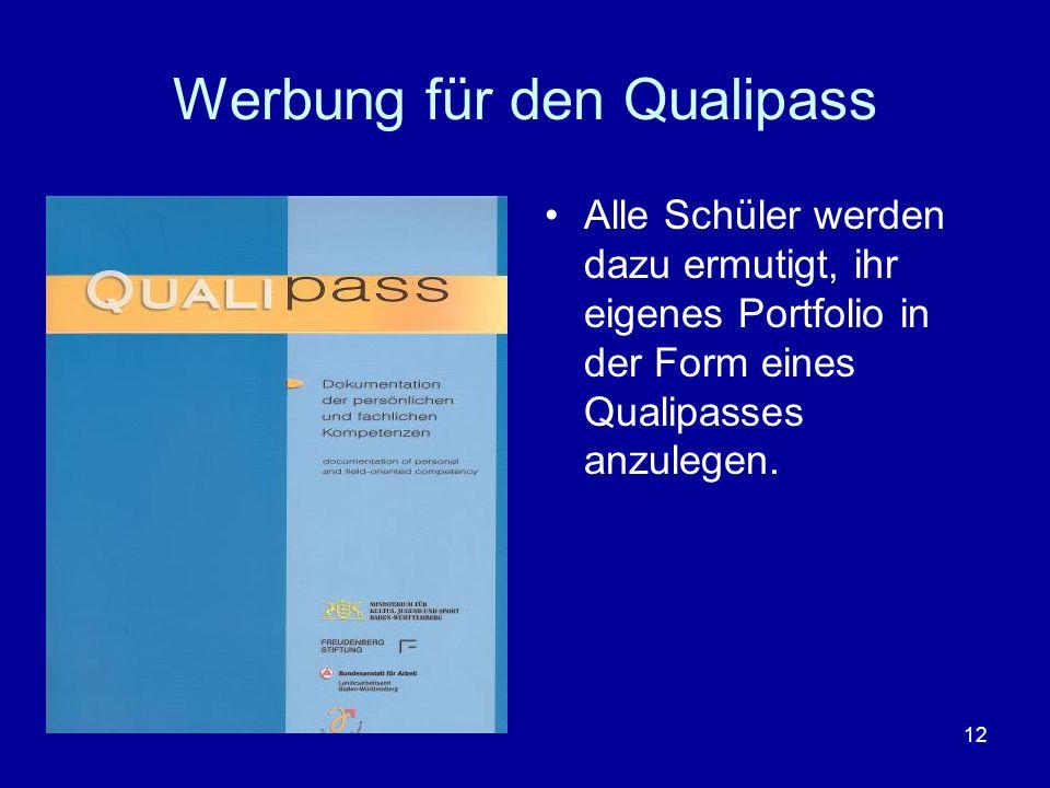 12 Werbung für den Qualipass Alle Schüler werden dazu ermutigt, ihr eigenes Portfolio in der Form eines Qualipasses anzulegen.