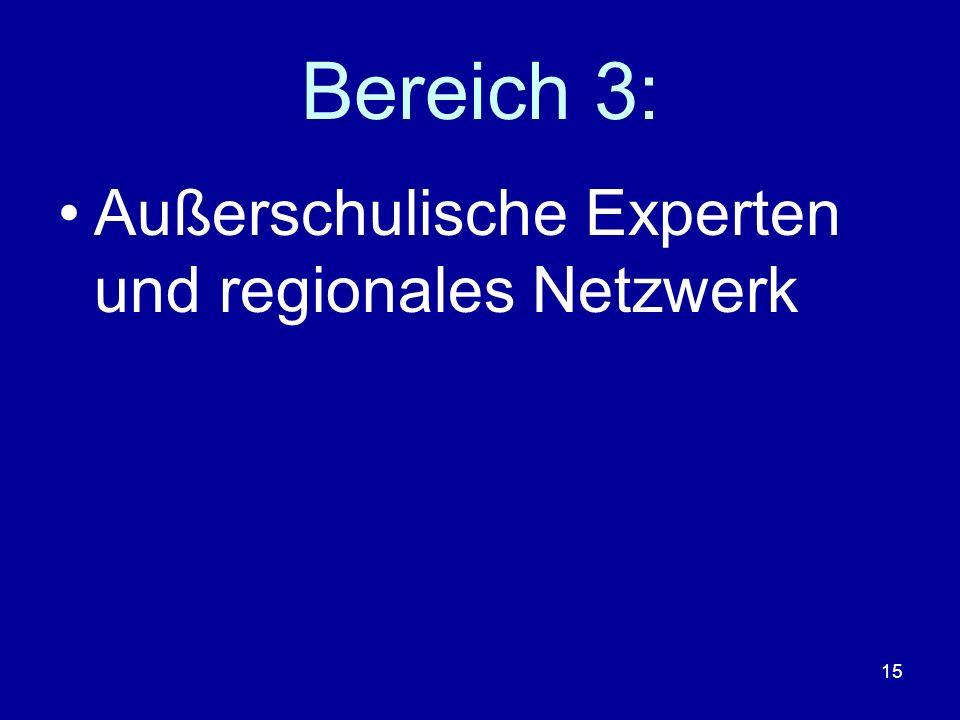 15 Bereich 3: Außerschulische Experten und regionales Netzwerk