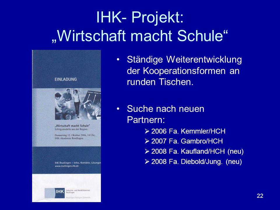 22 IHK- Projekt: Wirtschaft macht Schule Ständige Weiterentwicklung der Kooperationsformen an runden Tischen. Suche nach neuen Partnern: 2006 Fa. Kemm
